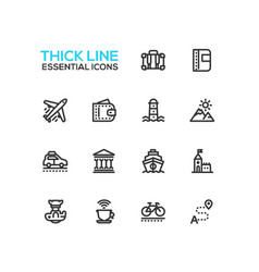 traveling - line icons set vector image vector image