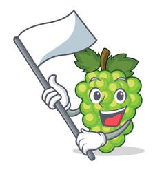 with flag green grapes mascot cartoon vector image vector image