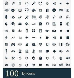 100 dj icons set vector