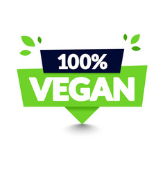 100 percent vegan tooltip label modern web banner vector image