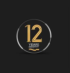 12 years golden anniversary logotype golden vector