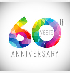 60 th anniversary facet years multicolored vector