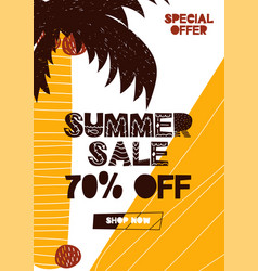 advert card with lettering 70 off summer sale in vector image