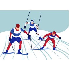 Alpine skiing in minimalist style cartoon flat vector