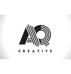 Aq logo letter with black lines design line letter vector