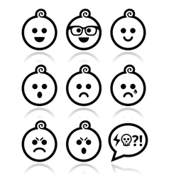 Baby boy faces avatar icons set vector image