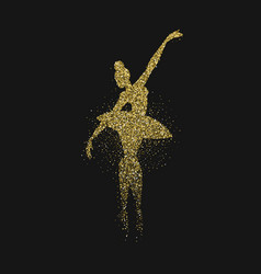 Ballerina girl silhouette made of gold glitter vector