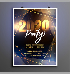 beautiful 2020 happy new year party poster flyer vector image