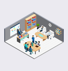 Boss and employees isometric composition vector