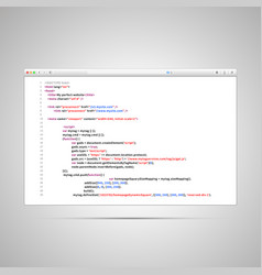 browser window with simple html code of web page vector image