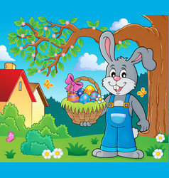 Bunny holding easter basket theme 2 vector