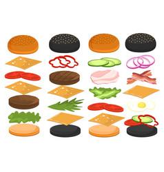 burger ingredients for hamburger food sandwich vector image