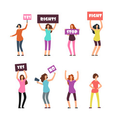 Cartoon women protesters feminism womens rights vector