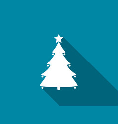 christmas tree flat icon with long shadow vector image