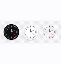 clock icon set modern black white and silhouette vector image