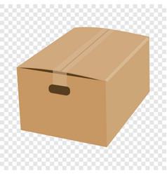 Closed cardboard box taped up mockup vector