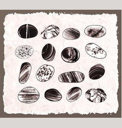 Collection of textured pebble stones hand drawn vector