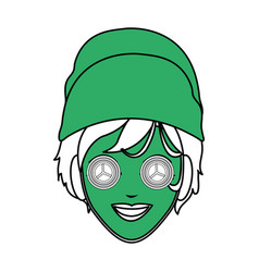 Color silhouette with green face woman with towel vector