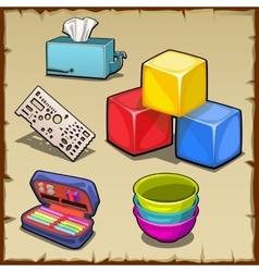 colorful cube set and tools first grader vector image