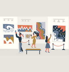 Contemporary abstract art museum concept vector
