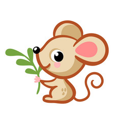 cute mouse in a cartoon style sits on a white vector image