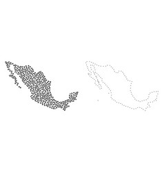 Dot contour map of mexico vector