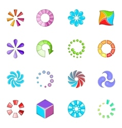 Download status icons set cartoon style vector