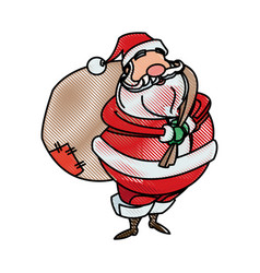 drawing santa claus christmas character style vector image