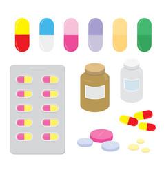 Drug medicine panel pill treatment cartoon vector