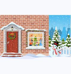 entrance to the suburban house vector image
