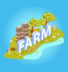 Farm chicken isometric composition vector