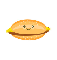 Flat cheeseburger with cutlet and cheese vector
