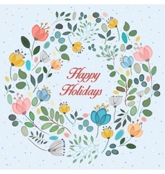 Floral ring Happy holidays vector