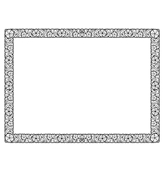 Flower abstract black frame isolated vector