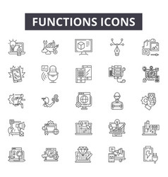 Functions line icons for web and mobile design vector