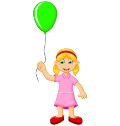 Funny little girl holding a green balloon vector