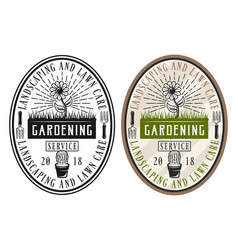 gardening service set of two style stickers vector image