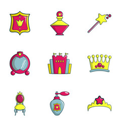 Girl toys icons set flat style vector