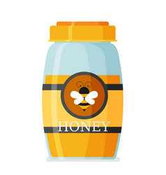 glass mason jar of honey in modern flat vector image