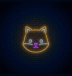 glowing neon sign of cute fox in kawaii style vector image