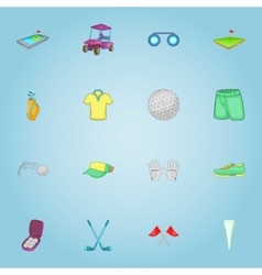 Golf club icons set cartoon style vector
