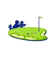 Golfer caddie golf course retro vector