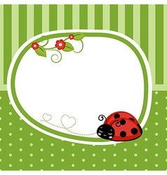 Greeting card with ladybug vector