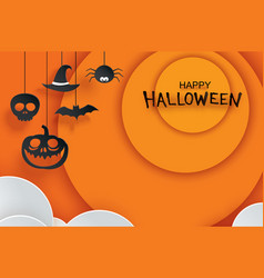 Halloween paper hanging in orange background use vector