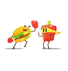 Hamburger Against Pepper Cartoon Fight vector