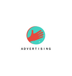 hand advertising logo vector image