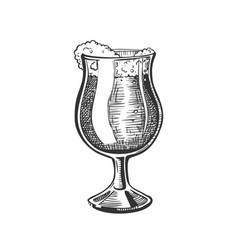 hand drawn glass on leg with foam beer vector image