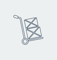 Hand truck line iconshipping inventory vector