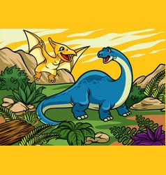happy cheerful cartoon of brontosaurus and vector image