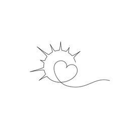 heart inside sun sign concept love compassion vector image